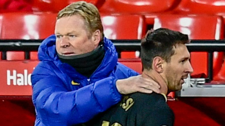 Ronald Koeman and Lionel Messi