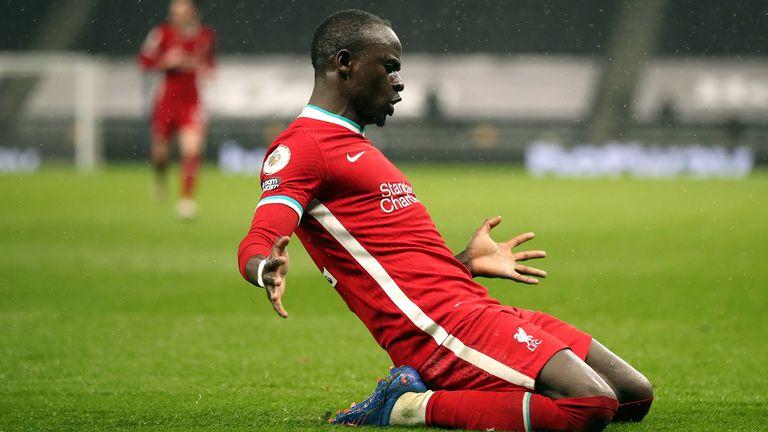 Sadio Mane celebrates after scoring for Liverpool against Tottenham