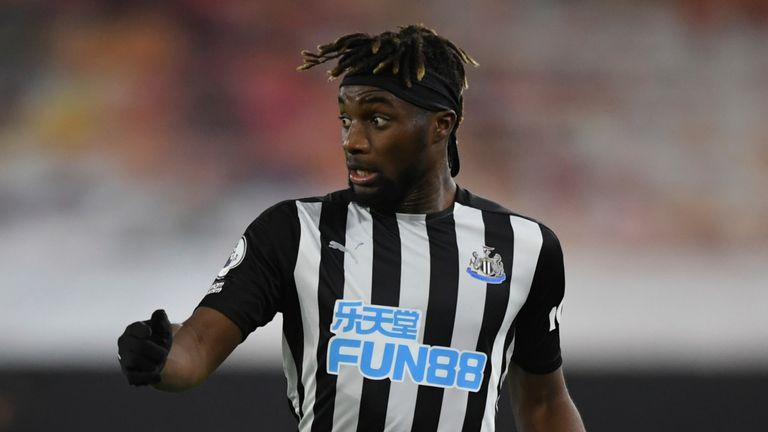 Newcastle's Allan Saint-Maximin controls the ball during the English Premier League soccer match between Wolves and Newcastle United at Molineux Stadium in Wolverhampton, England, Sunday, Oct. 25, 2020. (Stu Forster/Pool Photo via AP)