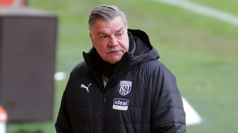 West Bromwich Albion manager Sam Allardyce during the Emirates FA Cup third round match at Bloomfield Road, Blackpool.