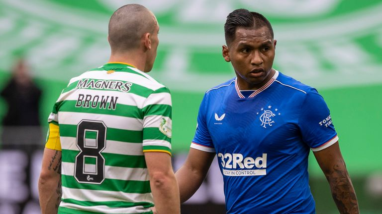 Scott Brown with Rangers' Alfredo Morelos during this season's first meeting