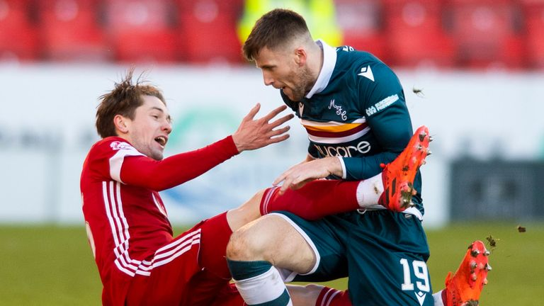 Aberdeen's Scott Wright is challenged by Motherwell's Liam Polworth