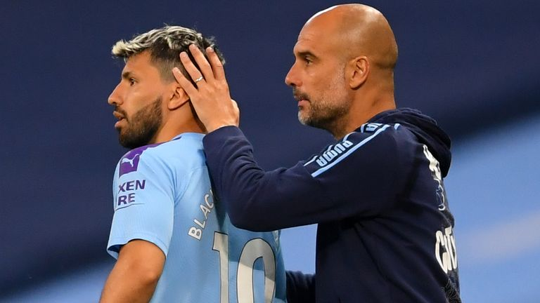 Manchester City's Sergio Aguero is subbed on by Manchester City manager Pep Guardiola during the Premier League match at the Etihad Stadium, Manchester. PA Photo. Issue date: Wednesday June 17, 2020.