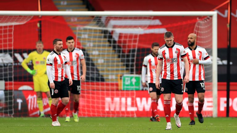 Sheffield United players look dejected after the conceding an early goal to Spurs