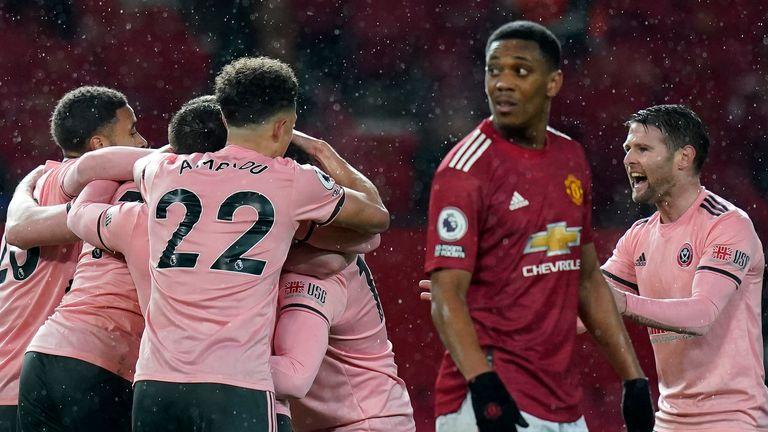 Sheffield United celebrate a goal against Man Utd