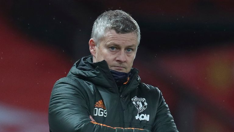 January 27, 2021, Manchester, United Kingdom: Ole Gunnar Solskjaer manager of Manchester United during the Premier League match at Old Trafford, Manchester. Picture date: 27th January 2021. Picture credit should read: Simon Bellis/Sportimage(Credit Image: © Simon Bellis/CSM via ZUMA Wire) (Cal Sport Media via AP Images)