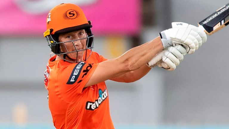 Sophie Devine, pictured here in action for Perth Scorchers in the Big Bash, scored a women's-record 38-ball hundred