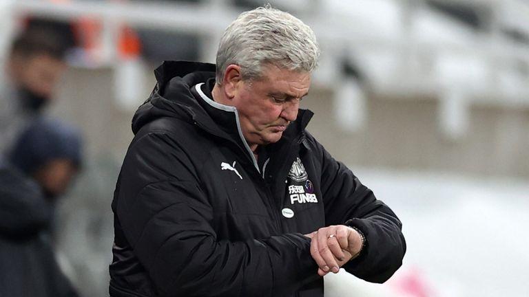 Steve Bruce checks his watch during the Premier League match against Leeds