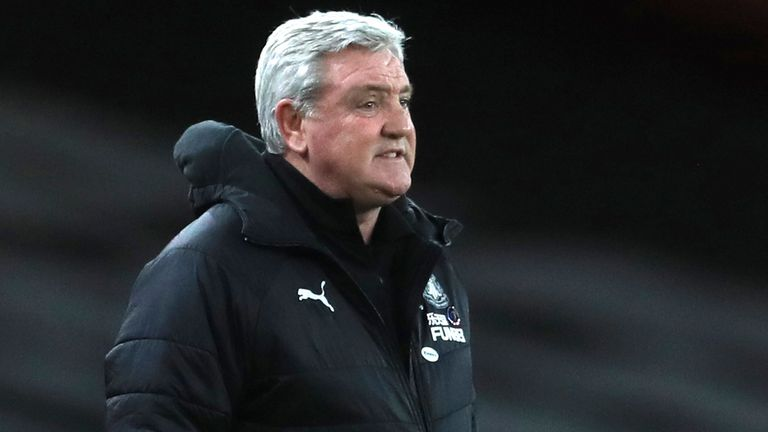 Newcastle head coach Steve Bruce during the English Premier League soccer match between Arsenal and Newcastle United at Emirates Stadium in London, England, Monday, Jan.18, 2021. (Adam Davy/Pool via AP)