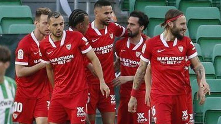Sevilla's winger Suso celebrates after scoring the 0-1 during the Spanish La Liga match