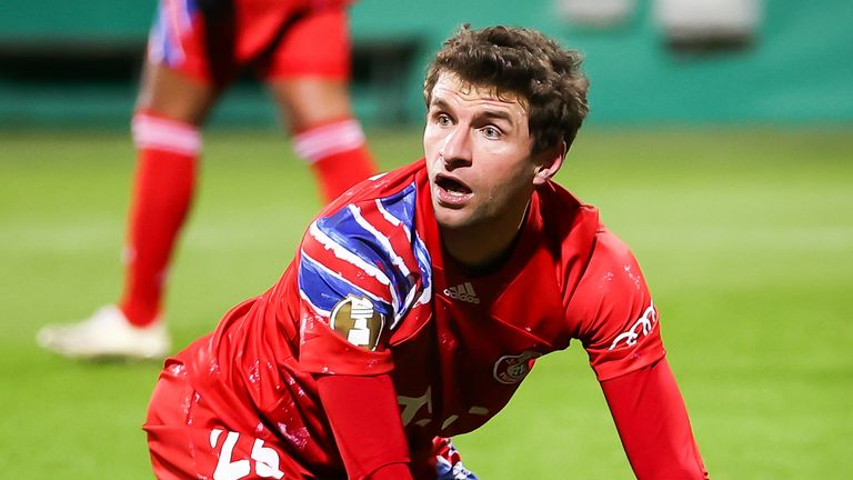 Thomas Muller  looks dejected after falling to a shock defeat on penalties