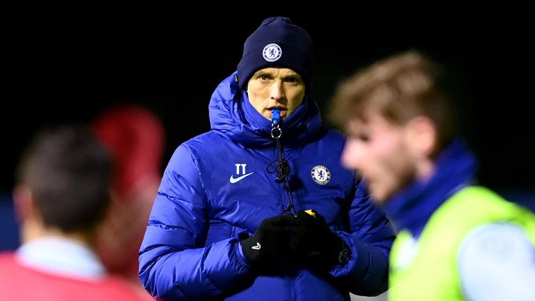 Thomas Tuchel during a training session at Cobham