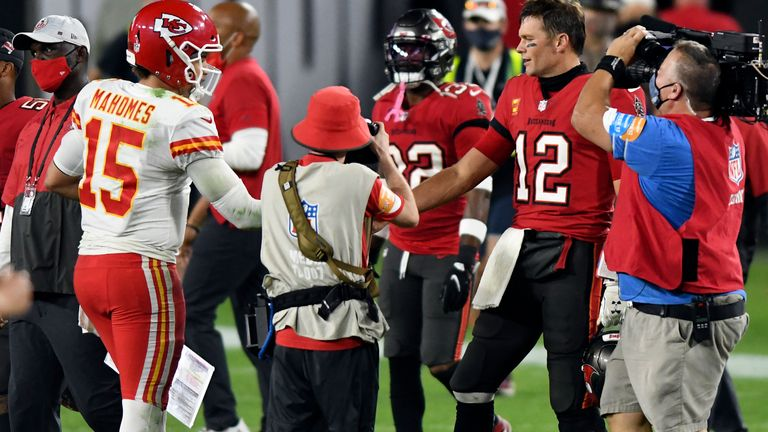 Patrick Mahomes led the Kansas City Chiefs to victory over Tom Brady's Tampa Bay Buccaneers earlier this season - they will meet again in Super Bowl LV (AP Photo/Jason Behnken)