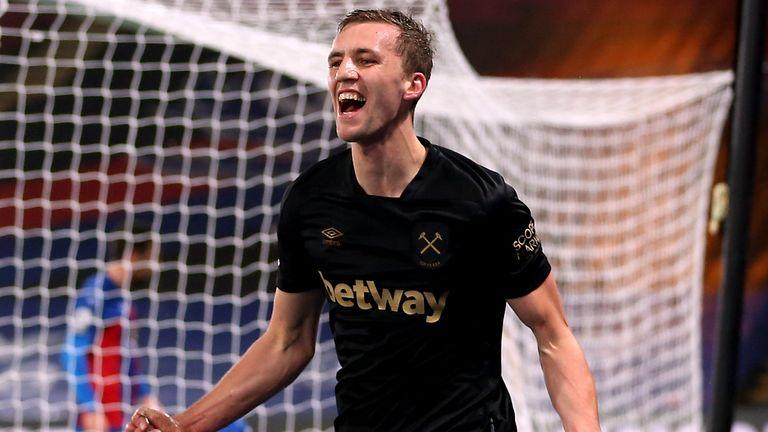 West Ham United's Tomas Soucek celebrates scoring their side's second goal