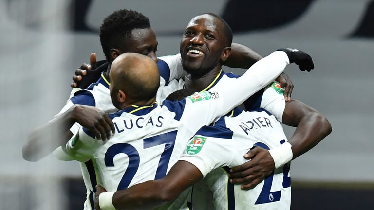 Moussa Sissoko celebrates putting Spurs ahead in the Carabao Cup semi-final