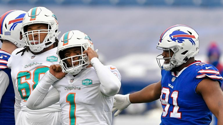 Tagovailoa endured a difficult game as the Dolphins (10-6) missed out on the playoffs with a week 17 defeat to the Bills