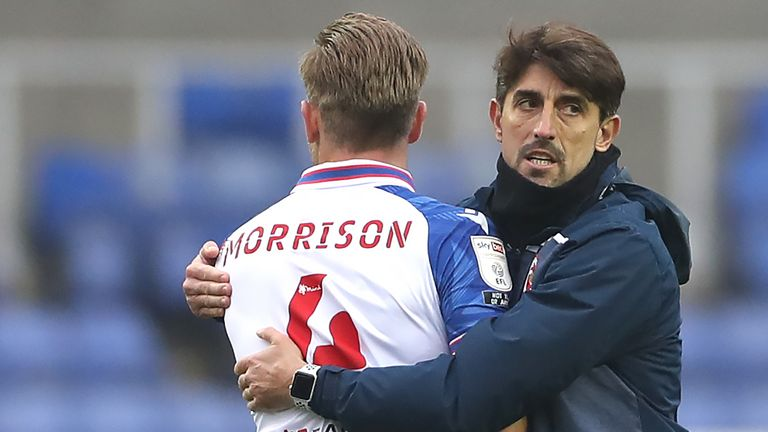 Reading manager Veljko Paunovic embraces Michael Morrison after the Sky Bet Championship match against Bristol City at the Madejski Stadium, Reading.