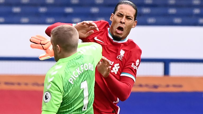 Everton goalkeeper Jordan Pickford's tackle left Liverpool defender Virgil van Dijk requiring knee surgery