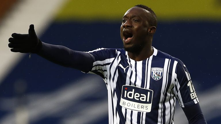 West Bromwich Albion's Mbaye Diagne on his debut against Fulham