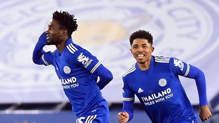 Wilfred Ndidi celebrates his opening goal for Leicester against Chelsea