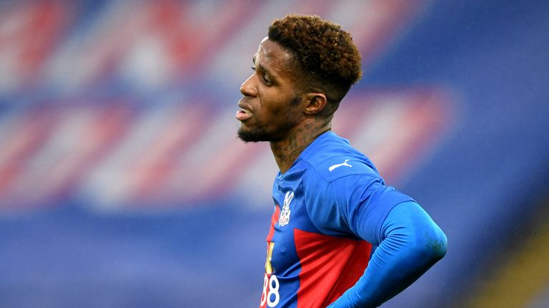 Wilfried Zaha shows his frustration during a goalless first 45 minutes