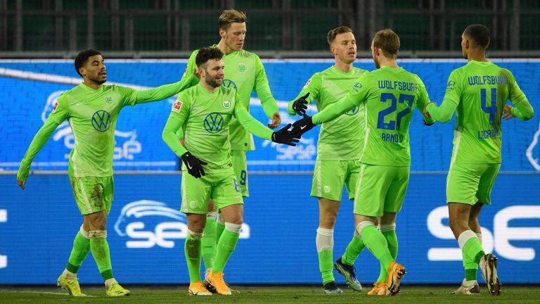 Wolfsburg top scorer Wout Weghorst scored their second goal
