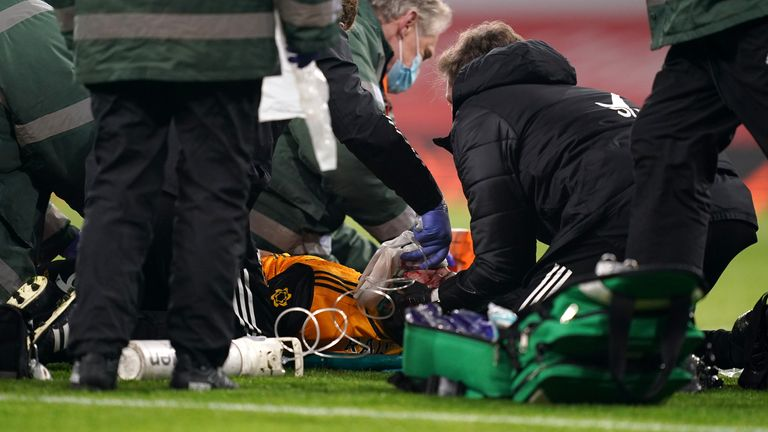 Wolves' Raul Jimenez was given treatment at the Emirates Stadium in November after suffering a head injury
