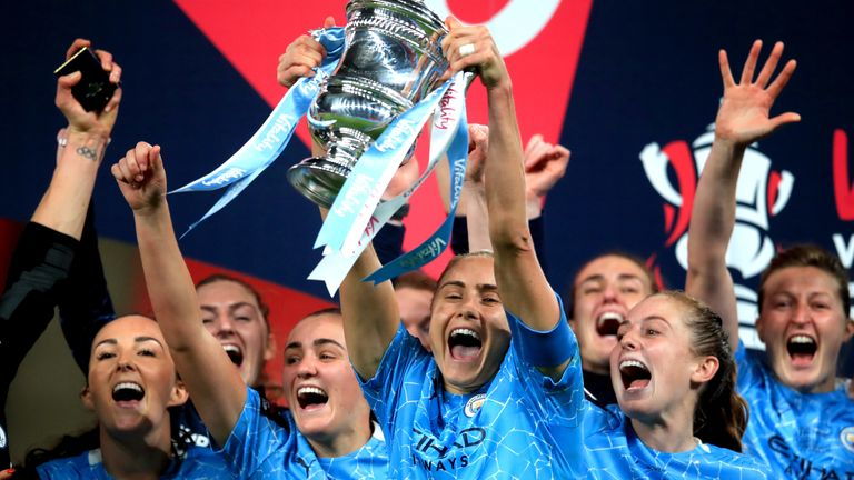 Manchester City Women lifted the Women's FA Cup for the third time in four seasons in November (Pic: PA)