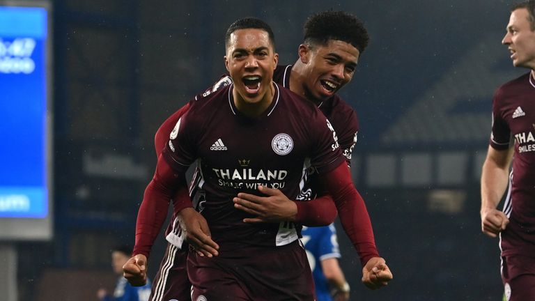 Leicester City's Youri Tielemans celebrates scoring their equaliser
