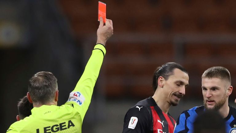Zlatan Ibrahimovic was sent off during the second half of AC Milan's defeat to Inter (AP Image)