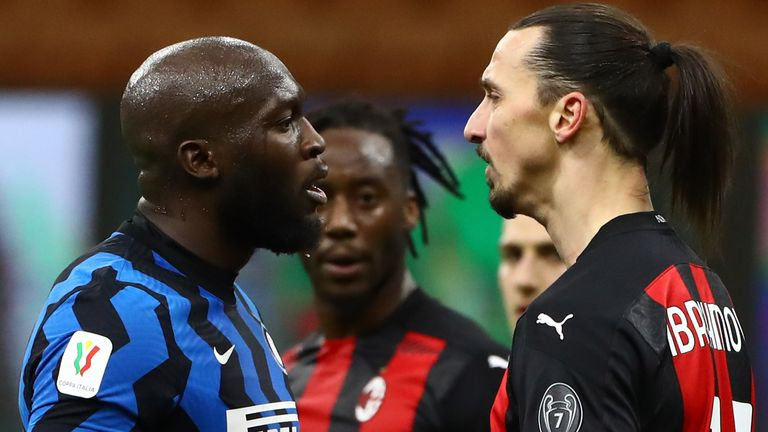 Romelu Lukaku and Zlatan Ibrahimovic square up to each other during the Milan derby