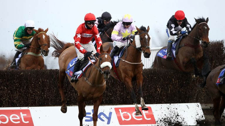 Takingrisks ridden by Sean Quinlan (centre) before going on to win the Sky Bet Handicap Chas at Doncaster Racecourse. Picture date: Saturday January 30, 2021.