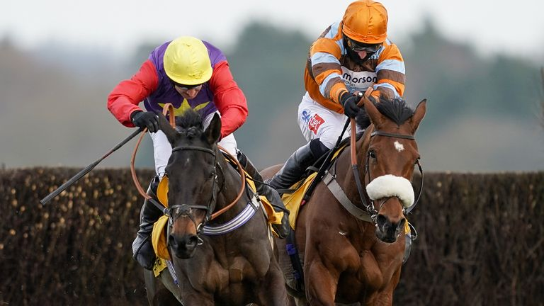 Matt Griffiths riding Dashel Drasher (left) clear the last to win The Betfair Ascot Chase from Daryl Jacob and Master Tommytucker (right) at Ascot Racecourse. Picture date: Saturday February 20, 2021.