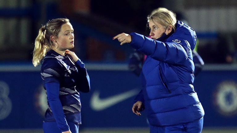 Chelsea's Erin Cuthbert (left) and manager Emma Hayes