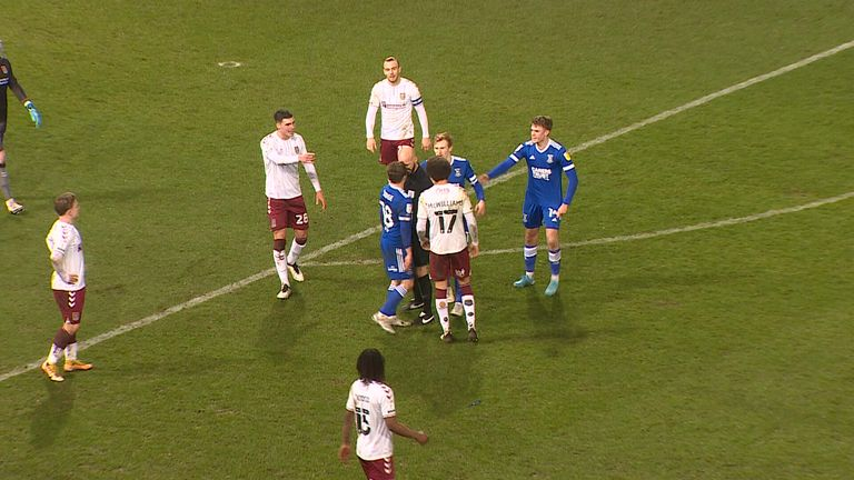 Image result for Referee Darren Drysdale has been charged by the FA with improper conduct after squaring up to and pressing heads against Ipswich Town's Alan Judge in their 0-0 draw with Northampton. Drysdale and Judge exchanged words in the 90th minute after the midfielder's appeal for a penalty had been turned down before the 49-year-old Lincolnshire official leant into Judge.