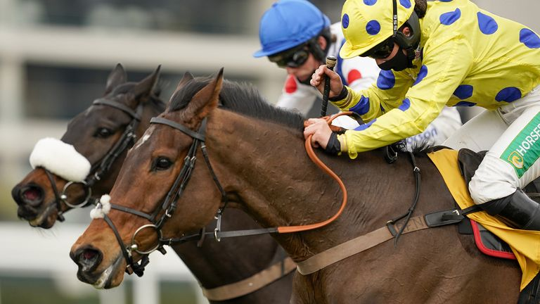 Secret Investor ridden by jockey Bryony Frost (right) clear the last to win The Betfair Denman Chase at Newbury racecourse. Picture date: Sunday February 21, 2021.