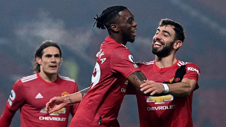 Aaron Wan-Bissaka celebrates after giving Man Utd a 1-0 lead (AP)