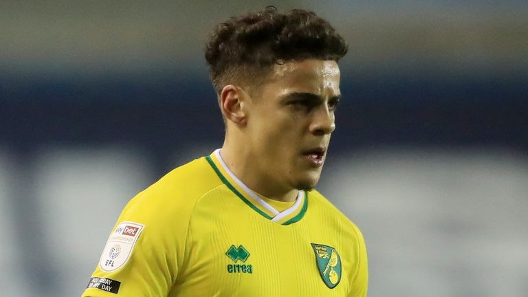 Norwich City's Max Aarons during the Sky Bet Championship match at The Den, London. Picture date: Tuesday February 2, 2021.