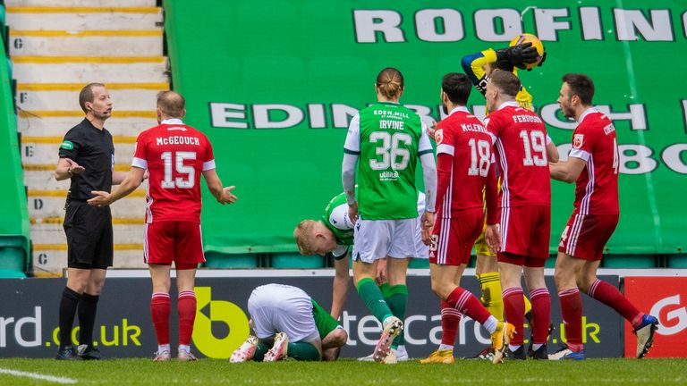 Aberdeen protest as Hibs are awarded a penalty at Easter Road