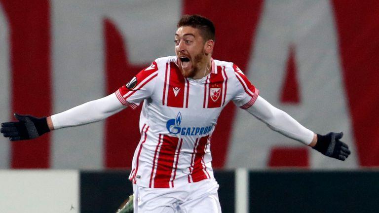 Red Star's Milan Pavkov celebrates after scoring against AC Milan