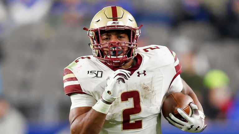 Dillon in action for Boston College against Pittsburgh in November 2019 (AP Photo/Keith Srakocic)