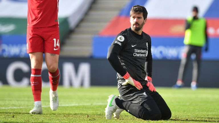 Alisson was at fault for Leicester's second after a mix-up with Ozan Kabak
