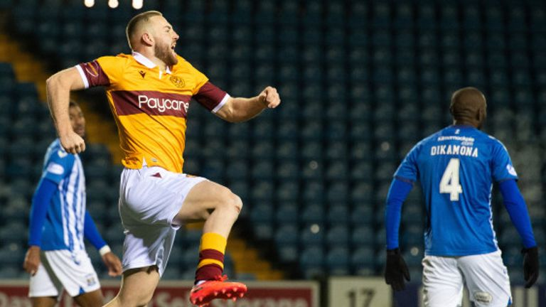 Allan Campbell celebrates his matchwinning goal for Motherwell