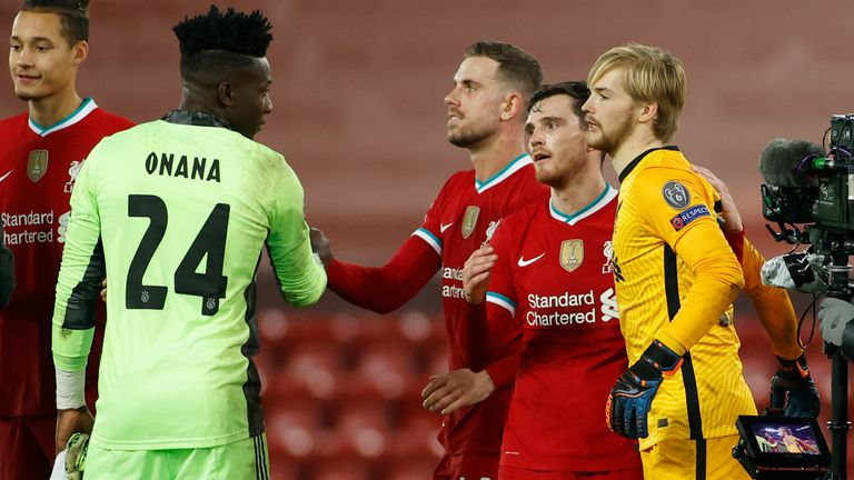 Andre Onana played both Champions League group games against Liverpool earlier this season - Ajax lost both 1-0