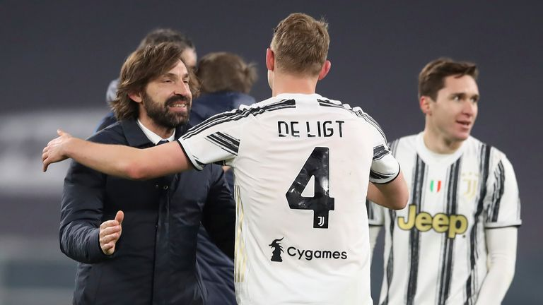 Andrea Pirlo embraces Matthijs De Ligt following Juventus' 0-0 draw with Inter