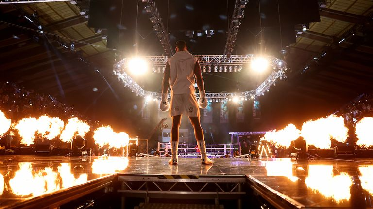 HANDOUT PICTURE COMPLIMENTS OF MATCHROOM BOXING.Anthony Joshua vs Kubrat Pulev, IBF, WBA, WBO & IBO World Title..12 December 2020.Picture By Mark Robinson.Anthony Joshua ring walk.
