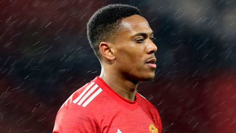 Anthony Martial walks on the pitch during the English FA Cup 5th round soccer match between Manchester United and West Ham United