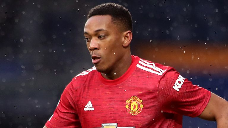 Manchester United's Anthony Martial during the Premier League match at the Hawthorns