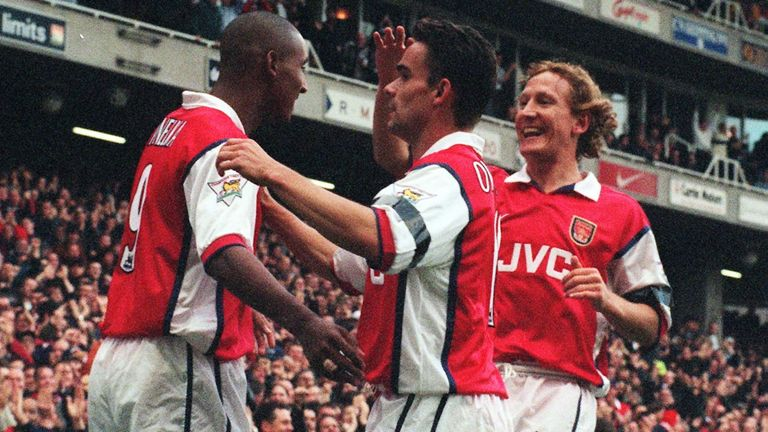 Anelka celebrates with Marc Overmars and Ray Parlour