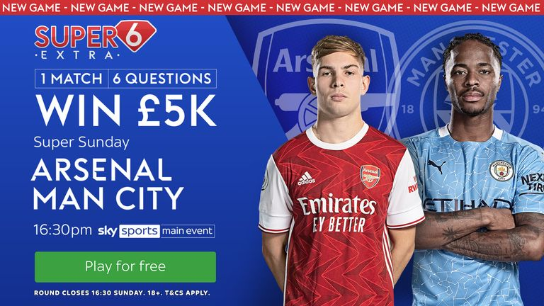 Arsenal welcome Manchester City in the latest round of Super 6 Extra.